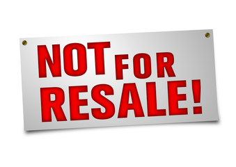 Not for Resale Schild