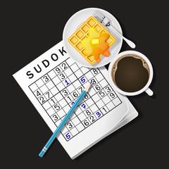 illustration of Sudoku game, mug of coffee and waffle