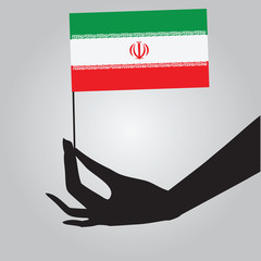 Hand with Iran flag