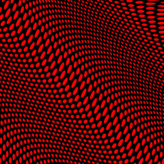 Red dots pattern on black background with wave effect
