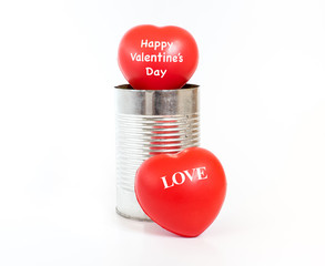 Happy Valentines day word on Hearts in tin on white background,V