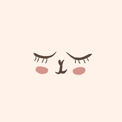 Cute animal face illustration closed eyes red cheeks