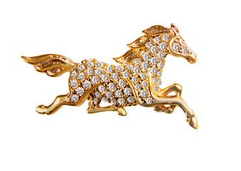 Изолированный Золото Конь Лошадь Бриллианты