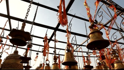 closeup of Temple bells