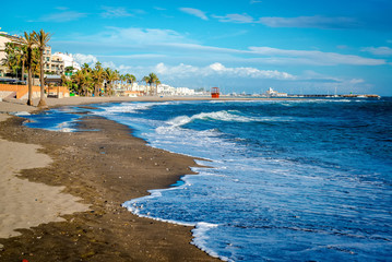 Picturesque coast in Benalmadena town. Malaga, Spain