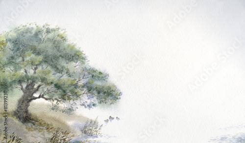 Background with watercolors of the tree above the water - 81399230