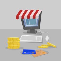 Shopping online. Computer