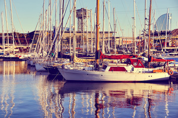 Yachts at the Port (Retro style)
