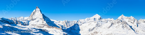 Fotobehang Bergen Panorama view of Matterhorn and Weisshorn