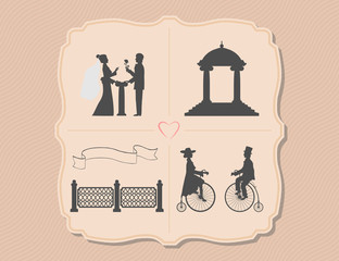 Various wedding invitations with bicycles, garden