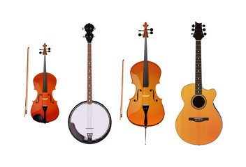 Set of orchestra and folk instruments