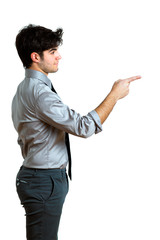 young businessman pointing on his side