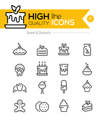 Desserts and Pasteries Line Icons including: cake, donut, cockie
