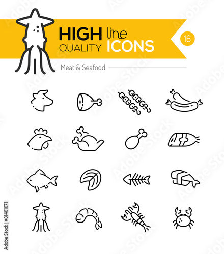 Meat & Seafood Line Icons including: Beef, chicken, fish, sushi