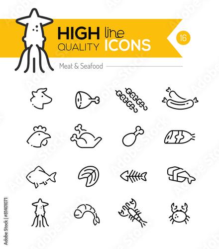 Zdjęcia na płótnie, fototapety, obrazy : Meat & Seafood Line Icons including: Beef, chicken, fish, sushi