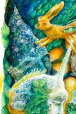 Colorful bright elven creatures in a fairy realm, beautiful  poster
