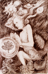 Portrait of a fairy creature on abstract structured ornamental