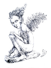 Little fairy writer with a feather, fantasy detailed ornamental