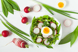 Clean eating food spring salad vith ripe raw vegetables