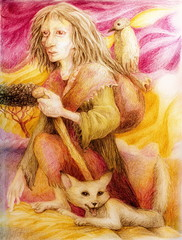 Ancient pilgrim woman with white fox and a bird, detailed color