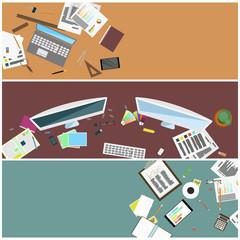 A set of simple flat illustrations as desktop wallpaper .