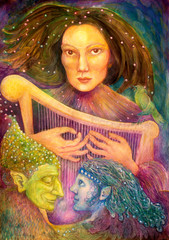 mystic woman playing a harp with a pair of fairies listening