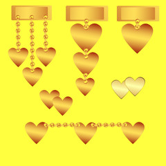 "Set of decorative ""golden"" hearts"