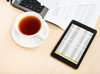 cup of tea and tablet pc on office desk