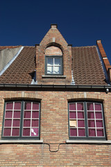 Detail of the brick historic house (Bruges, Belgium)