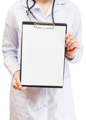 Nurse holds clipboard with blank paper