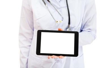 nurse holds tablet pc with blank screen