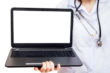 nurse holds computer laptop with blank screen