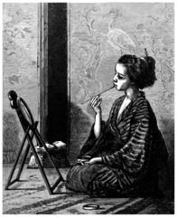 Traditional Japanese Woman at Make-up