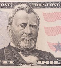 Fifty dollar bill macro, 50 usd, president Ulysses Grant portrai