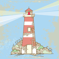 Lighthouse on a textured background