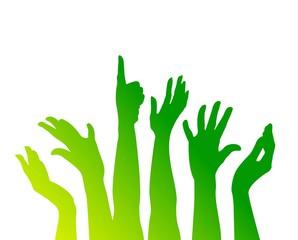 comunità, verde, blu, mani, braccia