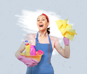 Young happy housewife cleaning.