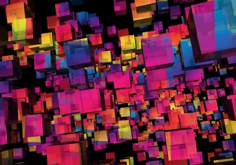 Abstract Illustration of Colorful Cubes