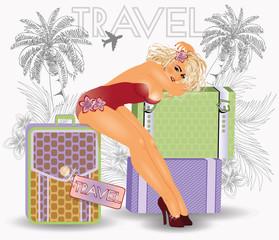 Summer travel pin up sexy girl, vector illustration