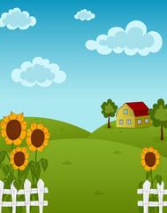 Farm landscape with sunflowers