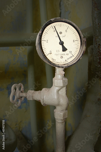 Poster Old pressure gauge made in the USSR in 1967