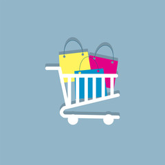 shopping carts flat icon  vector illustration eps10