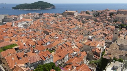 Dubrovnik old town roofs with Adriatic and island in background