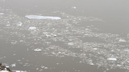 Ice drift on the river Oka. Russia