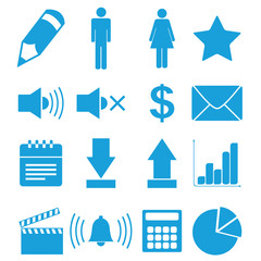 Flat blue icons set