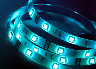 Led shining diode lights. Strip.