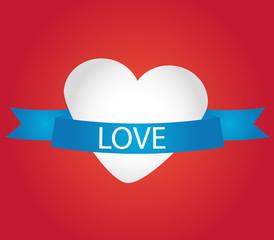 banner blu con la scritta amore