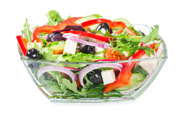 Salad with fresh vegetables, olives and cheese