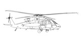 Helicopter sketch isolated on white background