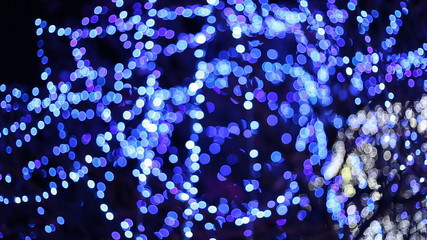 bokeh light blur of the LED lamp in the night